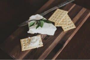 Cheeseboard, bread, crackers