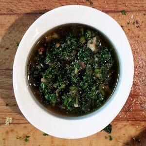 Chimichurri, an Argetinian pesto sauce.